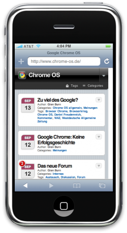 chrome-os.de auf iPhone